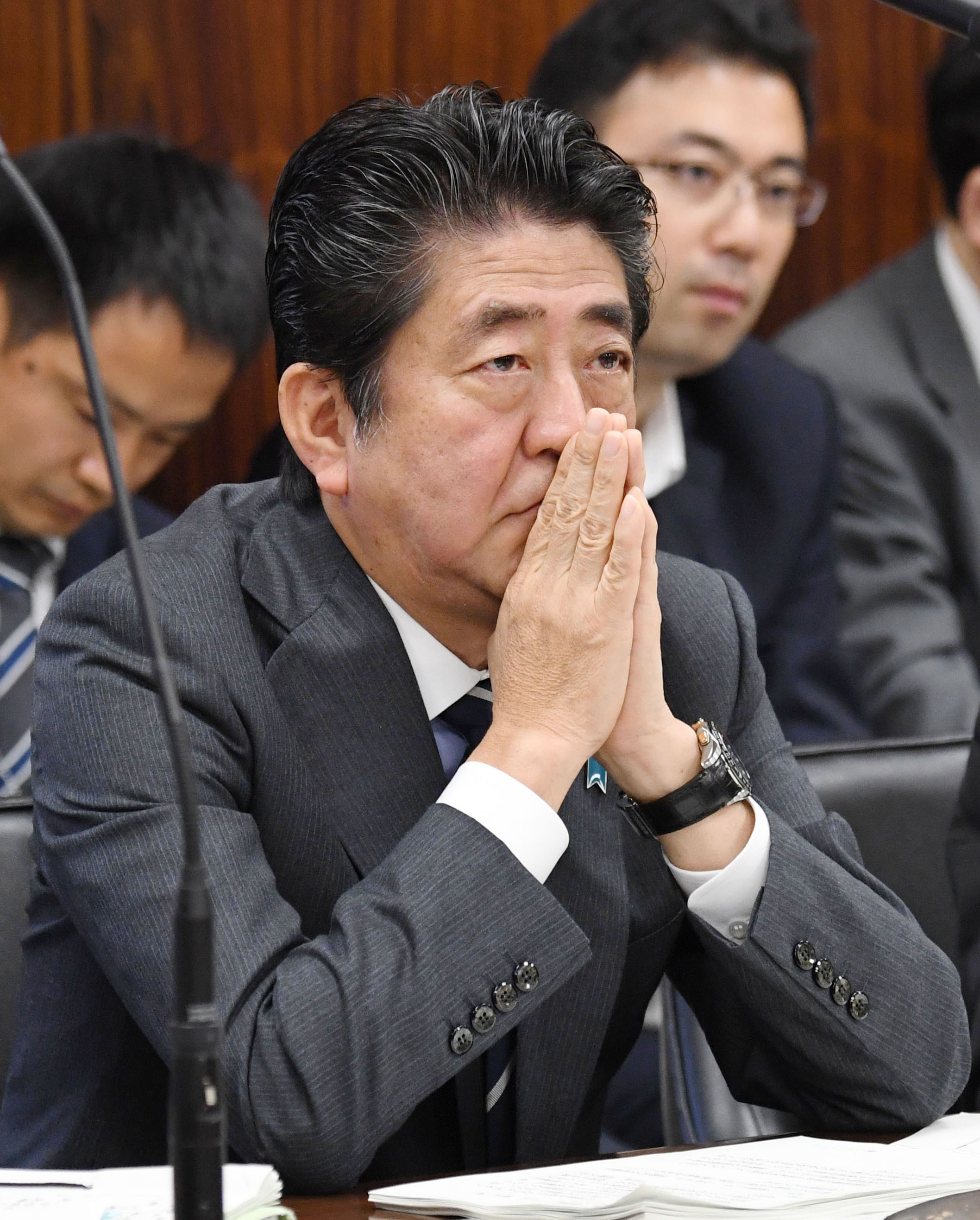 PM Abe attends upper house panel