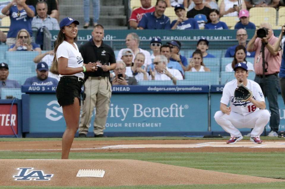 Naomi Osaka Throws Ceremonial 1st Pitch At Dodger Stadium