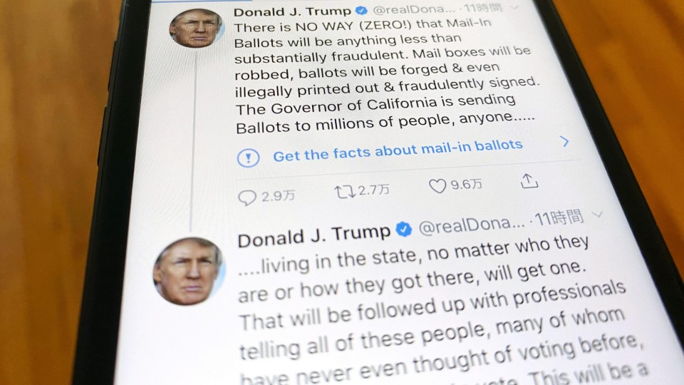 Trump tweets slapped with fact-check warning by Twitter for 1st time