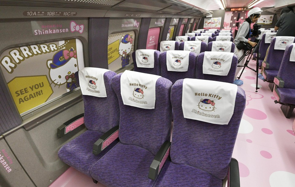 b4e6def40 Hello Kitty bullet train shown to media ahead of debut
