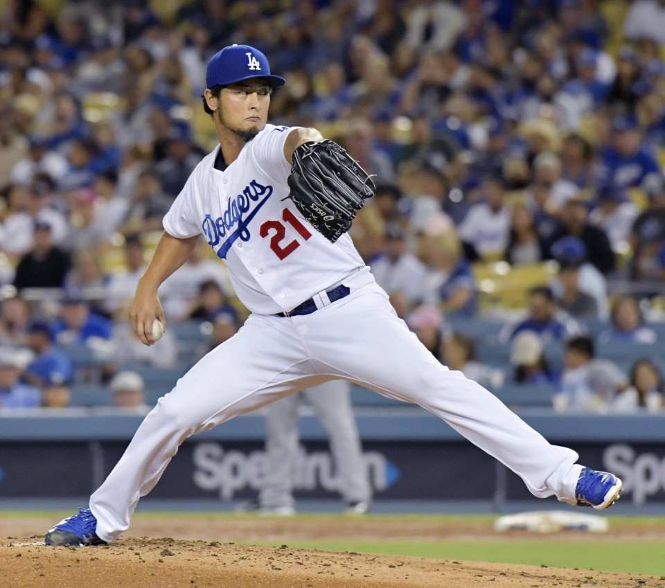 Darvish dominates Padres as Dodgers reach 100 wins