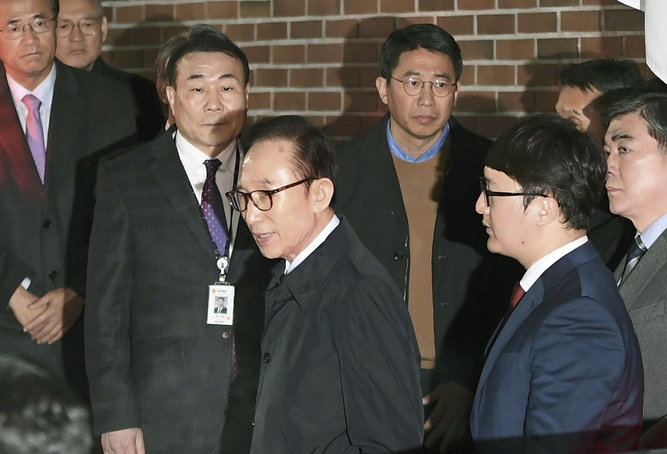 South Korea's ex-President Lee Myung-bak arrested over corruption allegations