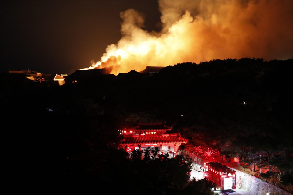 Fire burns down structures at historic Shuri Castle on Okinawa