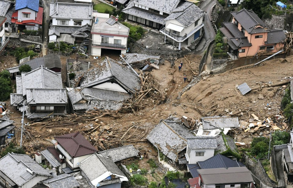 Dramatic photos show the devastating flooding and landslides in Japan