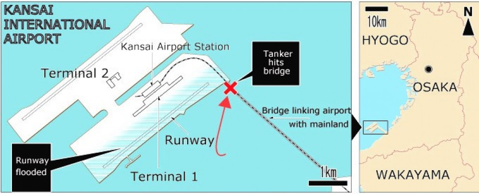 Kansai airport closure likely prolonged, typhoon death toll