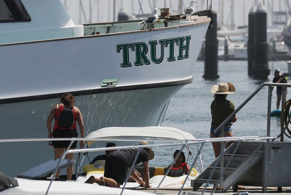 Rescue operation as boat catches fire off California