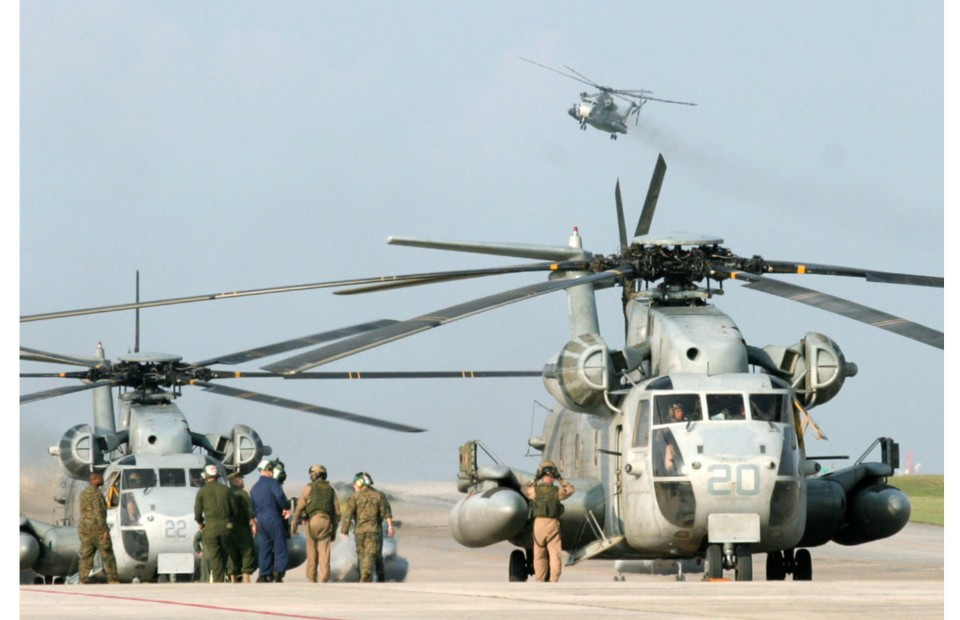 U.S. military chopper bursts into flames on landing in Okinawa