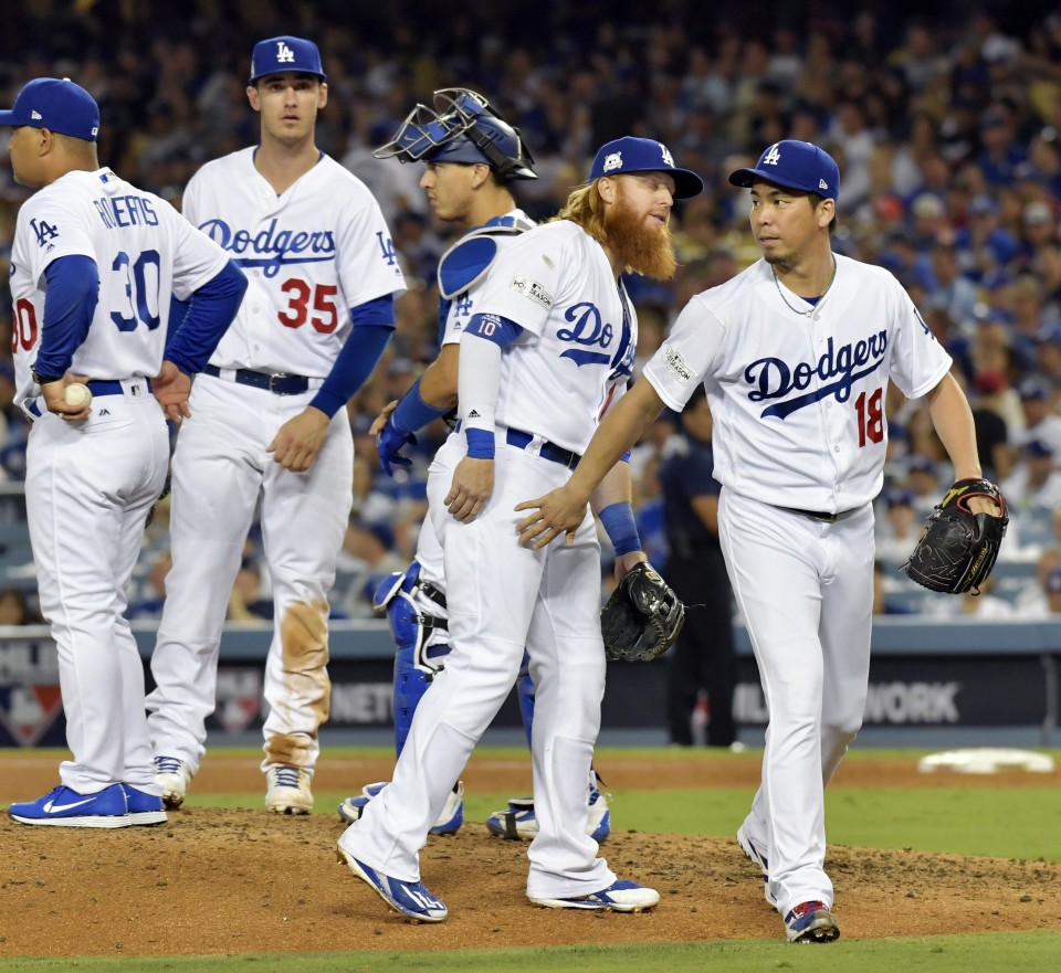 Maeda picks up win in relief for Dodgers in playoffs — Baseball