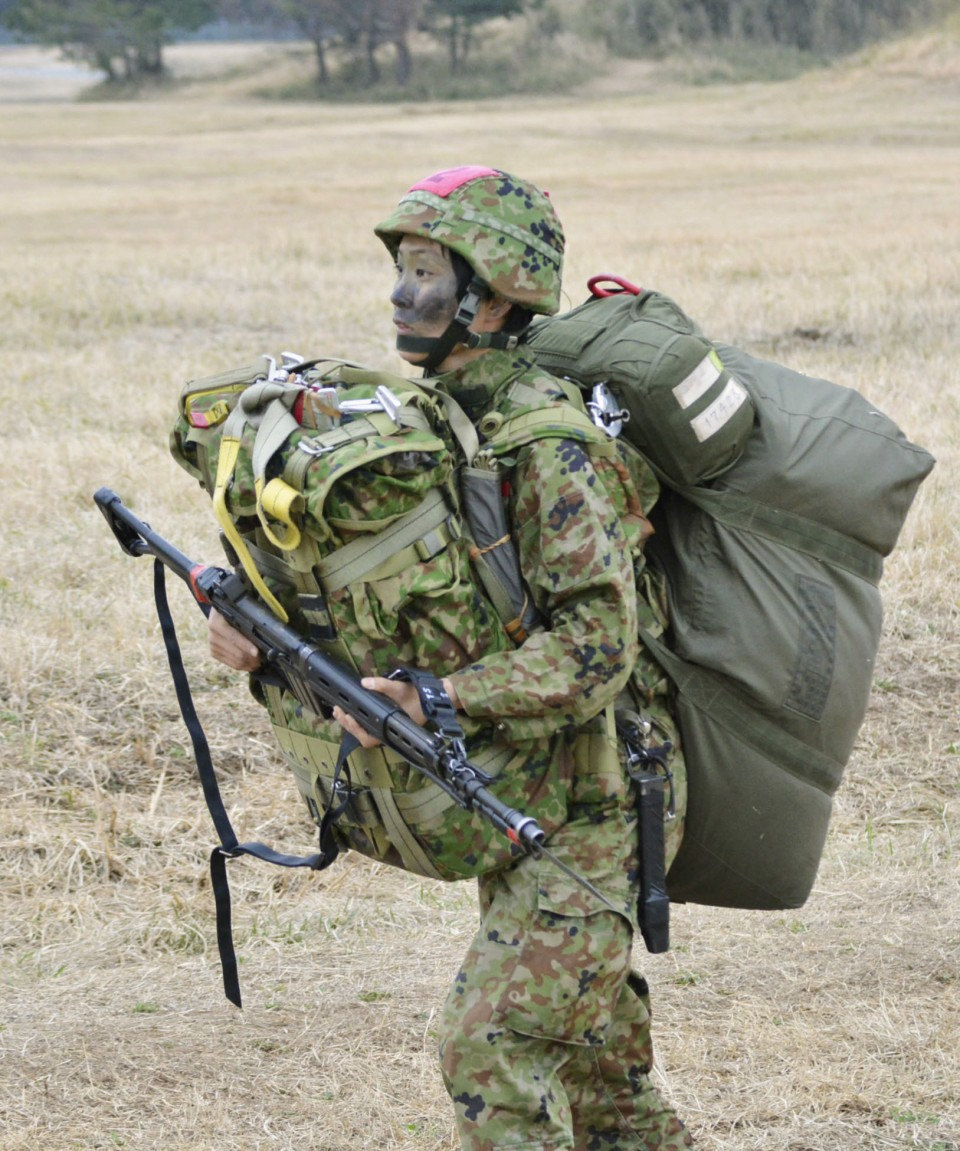 رينا هاشيبا خلال التدريب | عبر وزارة الدفاع وكيودو